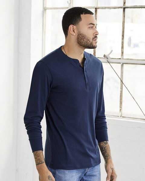 wholesale Bella+Canvas 3150 long sleeve jersey henley from BulkApparel